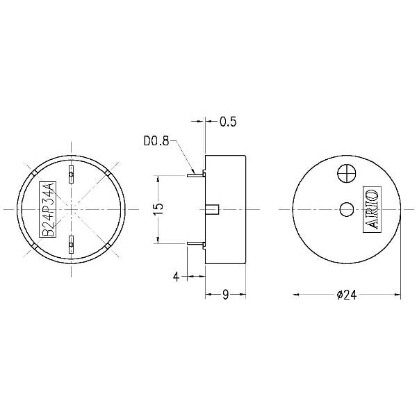 piezoelectric buzzer for driver circuit built-in  lf-pb24p34a
