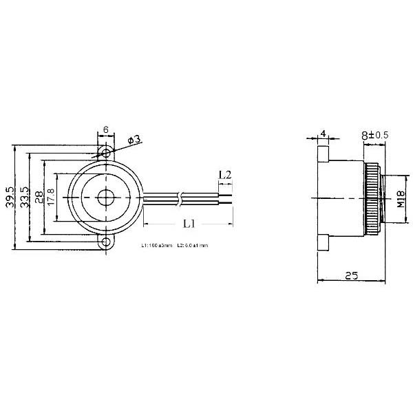 piezoelectric buzzer for driver circuit built-in  lf-pb28w35a