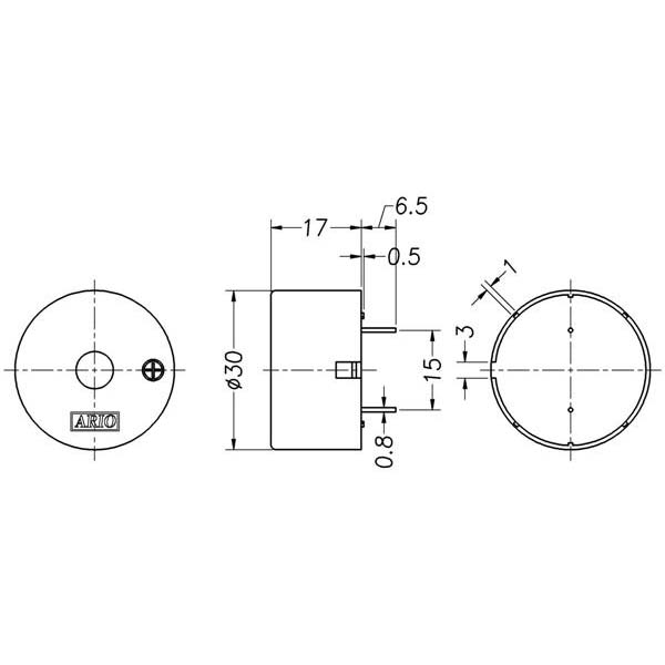 piezoelectric buzzer for driver circuit built-in  lf-pb30p25a-a