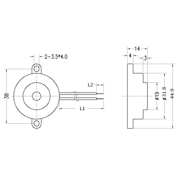 piezoelectric buzzer for driver circuit built-in  lf-pb32w37a-a