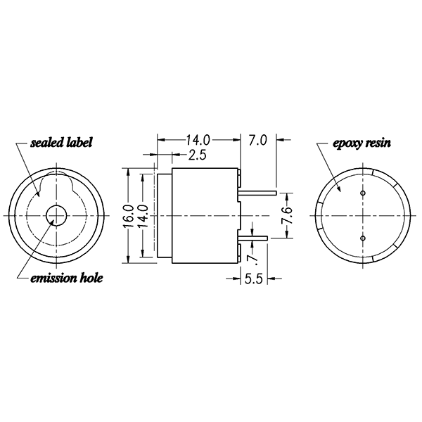 magnetic buzzer series  lf-mb16a24-a